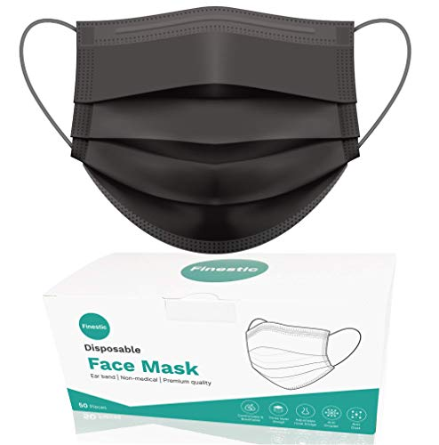 Disposable Face Mask, Finestic 3-Ply Breathable Premium Quality Safety Mask with Ear Loop, Adjustable Nose Wire and Three Layer Protection (50 Pcs, Black)