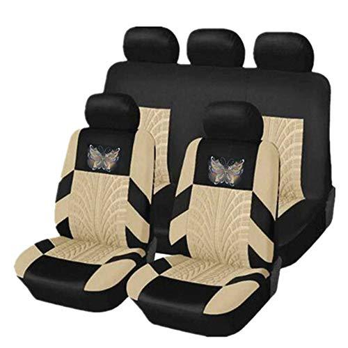 KKmoon Coprisedili Auto Anteriori e Posteriori, Protezione Panchina Divisa 5 Posti Compatibile con i Veicoli al 90% (Auto Truck Van SUV), Beige
