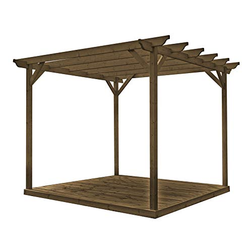 Rutland County Garden Furniture Premium Pergola And Decking Kit Pergola Design With Decking And 4 Posts (2.4m x 2.4m, Rustic Brown)