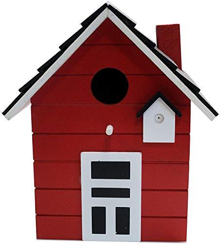 CasaJame Holz Vogelhaus für Balkon und Garten, Nistkasten, rot, Haus für Vögel, Vogelhäuschen, 20 x 17 x 12cm