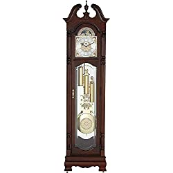 Howard Miller Baldwin Floor Clock 611-200 – Cherry Bordeaux Grandfather Vertical Home Decor with Illuminated Case & Cable-Driven Single-Chime Movement