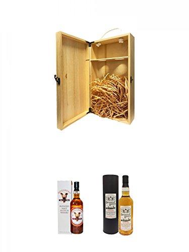 1a Whisky Holzbox für 2 Flaschen mit Hakenverschluss + Hogshead Pigshead Label Signatory 0,7 Liter + House of Peers Blended Malt Scotch Whisky 0,7 Liter