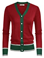 Women Long Sleeve Lightweight Cardigan V-Neck Button Down Contrast Color Elastic Ball Prom Knitted Sweater Please use size chart we offered instead of Amazon's size chart. Please select the size carefully before you purchase it! Thank you Features: L...