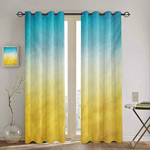 DONEECKL Yellow and Blue Cloth Curtain Surf Waves Ocean Beach Exotic Dreamy Gradient Toned Blurry Landscape 2 Panel Sets W72 x L96 Inch Sky Blue Yellow