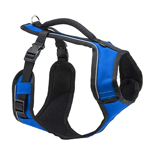PetSafe EasySport Dog Harness, Adjustable Padded Dog Harness with Control Handle and Reflective Piping, From the Makers of the Easy Walk Harness,Blue,Extra Small