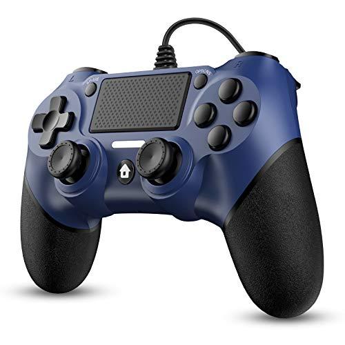 Dhaose Wired Controller per PS4, Controller gamepad con joystick di gioco USB cablato con design antiscivolo a doppia vibrazione per PlayStation 4 / Pro/Slim/PC