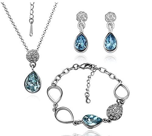 HMANE Conjunto de Joyas de Cristal Versión Coreana Gota de Agua Pendientes de Cristal Collar Conjunto de Pulsera