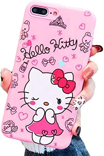 Hello Kitty Love Ya XOXO Edition Pink Soft Silicone Protector Case Gel Shockproof Phone Thin Slim Gel Cover ~ Estuche Fundas Cobertor (iPhone 8 Plus)