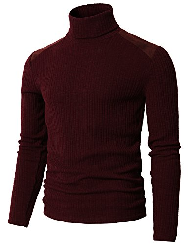 H2H Mens Slim Fit Marled Turtleneck Knit Sweater with Plus Size Maroon US M/Asia L (CMTTL099)
