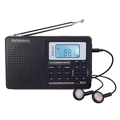 Retekess V111 Radio Portátil FM Am SW, DSP Radio de Bolsillo con Temporizador de Reposo, Radio de Onda Corta con Hora y Despertador, para Familia, Cocina, Exteriores, Viajes