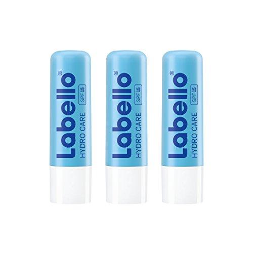Labello Hydro Care Lippenbalsam mit Sonnenschutz, LSF 15 und Aloe Vera für intensiven Lippenschutz, 3er Pack (3 x 4,8 g)