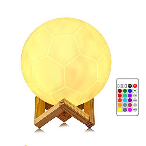 anaoo LED Luz de Noche Lámpara de fútbol Luz ambiente Grande(16CM) en 16 Colores, Lámpara de Mesa Noche con Sensor, Buen Regalo para Niños Lámpara de decoración [Clase de eficiencia energética A]