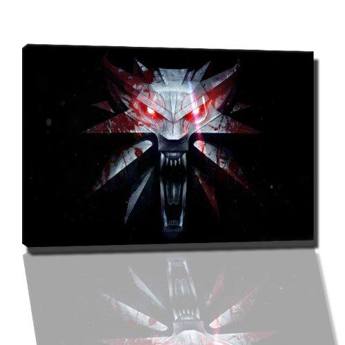 Dark The Witcher afbeelding op canvas - 60 x 40 cm kant-en-klare kunstdruk afbeeldingen als wandafbeelding - Goedkoper dan olieverfschilderij of schilderij - GEEN poster of affiche