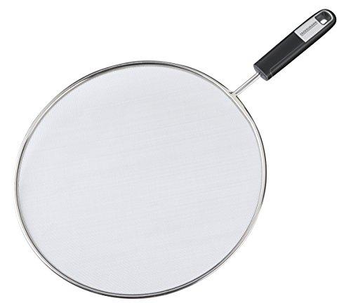 FACKELMANN Spritzschutz Ø 29 cm Sense, engmaschiger Aufsatz für Kochutensilien mit feinem Gitter, mit rutschfestem Soft-Touch-Griff (Farbe: Silber/Schwarz), Menge: 1 Stück