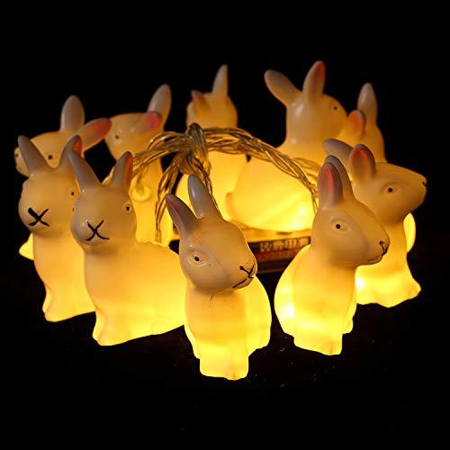 Herefun Ostern Lichter 1.65M 10 LEDs Ostern Lichter Osterhase Oster Lichterkette Hase String Licht Batteriebetrieben Für Hochzeit Geburtstagsfeier Ostern Party Dekoration