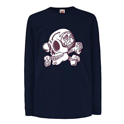 Camisetas de Manga Larga para Niño Great Tattoo Inspired Flower Detailed Skull and Bones Motif