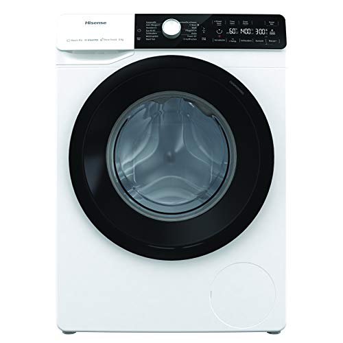 Hisense WFGA80141VMQ Waschmaschine mit Dampf/Inverter Motor/Totaler Aqua Stop/ 8kg/ Automatikprogramm/