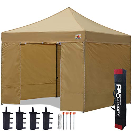 ABCCANOPY Pavillon 3x3m WASSERDICHT Flatpavillon Partyzelt Gartenzelt Festzelt mit 4 Seitenteilen+Handtasche,Beige