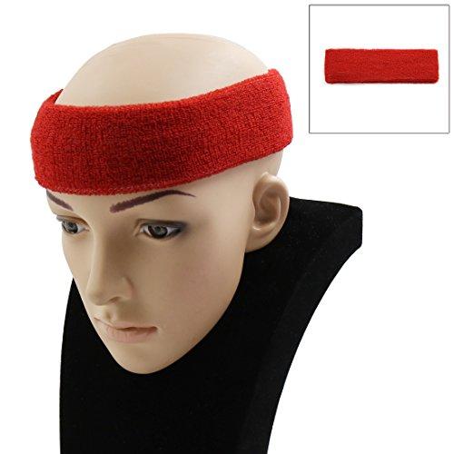 sourcingmap Basket-ball Sport Bandeau Exercice Yoga Bandeau De Débordement Élastique Stretch Head Wrap Protecteur Turban Rouge