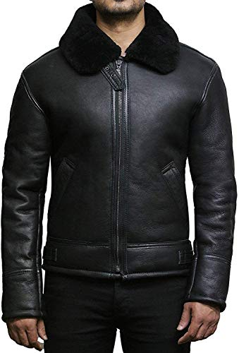 BRANDSLOCK Mens Aviator B3 Real Shearling Sheepskin Leather Bomber Flying Pilot Jacket (Large, Black)
