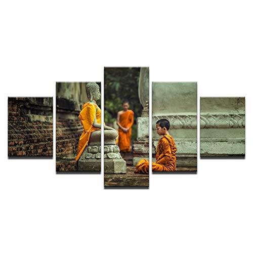 AYogg 5 Leinwanddrucke Leinwandbilder Wandbilder Rahmen 5 Stück Novizen Mönch Vipassana Meditationsbilder Hd Prints Buddhismus Poster Wohnkultur
