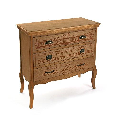 Versa 21080023 Table Comoda 3 tiroirs Riano, 86,5 x 40 x 90 cm, Bois, Casier