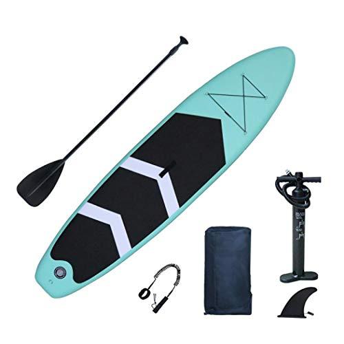 Tabla de remo inflable de pie, tabla de remo de pie con mochila, paleta de fibra de carbono, correa, bomba de mano, kits de reparación (tabla de paleta integrada de 3,2 m)