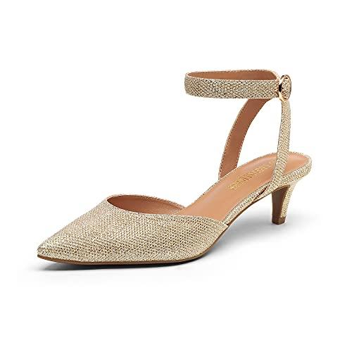 DREAM PAIRS Low Heels for Women DPU215 Wedding Dress Closed Toe Pump Shoes Gold Glitter Size 7