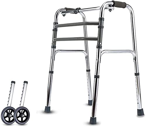 Rollator Walker Seniors y adultos Médico Rolling Walker Marco de caminata Caminante Estándar Marco de caminata plegable con ruedas Rollo de aluminio ajustable de altura ligera con MODO FIJO INTERACTIV