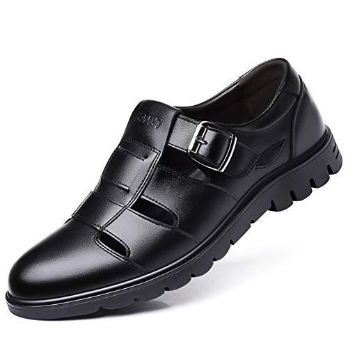 wangqianli Sandals For Men Summer Shoes Slip On Genuine Leather Anti Slip Breathable Flat Adjustable Hook&Loop Strap Lug Sole Buckle Decor Shoes (Color : Black, Size : 41 EU)