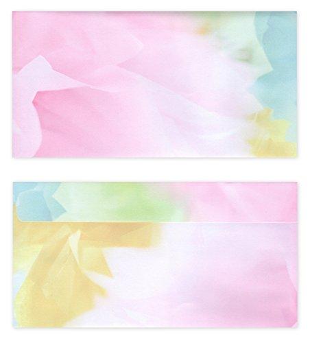 50 Stück Premium Briefumschläge (UMS-5098) DIN lang (110 X 220mm) farbenfrohes Motiv bunt farbig, Frühling Sommer Briefhüllen Kuvert, ohne Fenster, haftklebend, 80g/m²