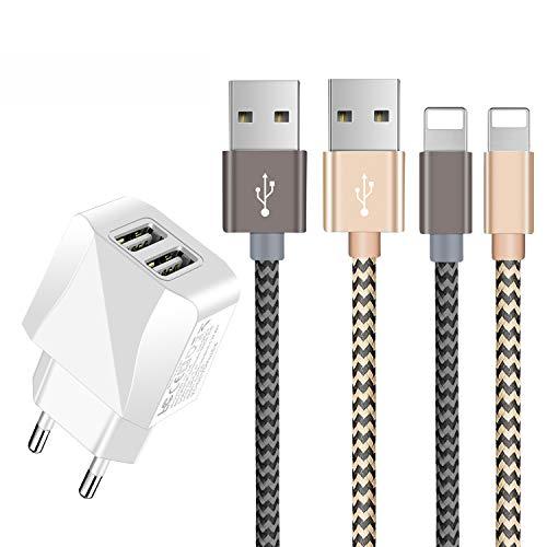 Chargeur USB,Prise USB Secteur 2 Ports avec Cable Chargeur Phone [1.5m/Lot de 2] Compatible Cable Phone 11/XS/XSmax/XR/R/8/8plus/7/7plus/6/6S/6plus/Se/5s/5c/5, Pad 2/3 /4 Mini(Or,Gris)