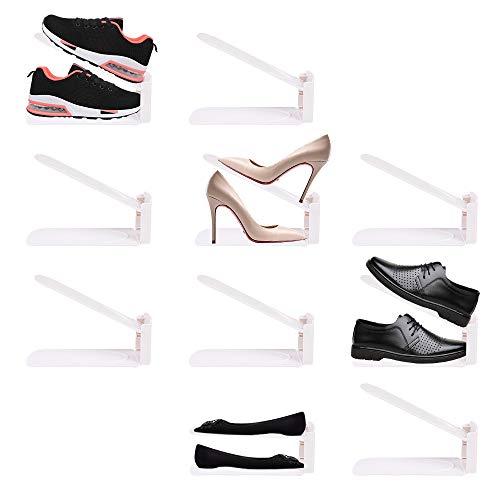 [SHUJIN] 靴ホルダー シューズホルダー 靴スタンド 10個入り 高さ三段調節 シューズラック 男女兼用 省スペース 靴 収納 下駄箱 玄関収納 整理 (10個セット, ホワイト)