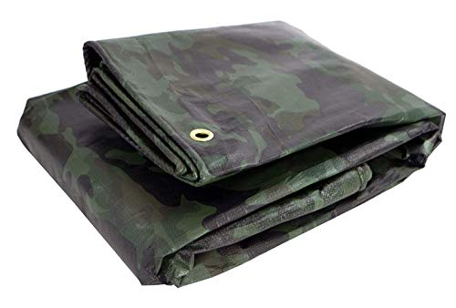 Heavy Duty Waterproof Camo Tarp - Reversible Camouflage / Green Vinyl Tarp -12x16 with UV Protection for Outdoor Camping RV Truck and Trailers