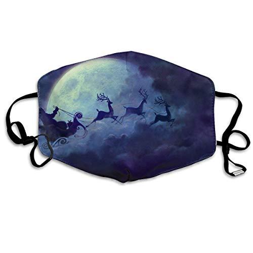 QYGA-3BU Mundhauben für Sturmhauben Moon Santa Claus und Rentier bedrucken Sturmhauben für Sturmhauben - Atmungsaktive, verstellbare, winddichte Mundhülle, Camping Running
