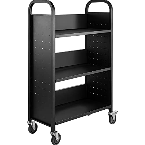 BestEquip Book Cart 200LBS Library Cart 30x14x45 Inch Rolling Book Cart Single Sided L-Shaped Flat Shelves with 4 Inch Lockable Wheels for Home Shelves Office and School Book Truck in Black