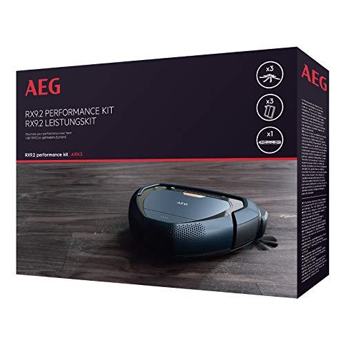 AEG ARK3 Pack Laterales PowerBrush, 3 filtros XXL Lavables, 1 Cepillo Principal, Compatible con Aspirador Robot RX9.2, Negro