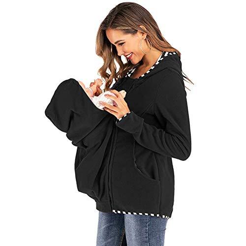 Mutterschaft Stillen Sweatshirt Gestreift Babytrage Kapuzenpullover Jacke Reißverschluss Schwangerschaft Mantel Lange Ärmel Säuglingspflege Tops,Schwarz,S