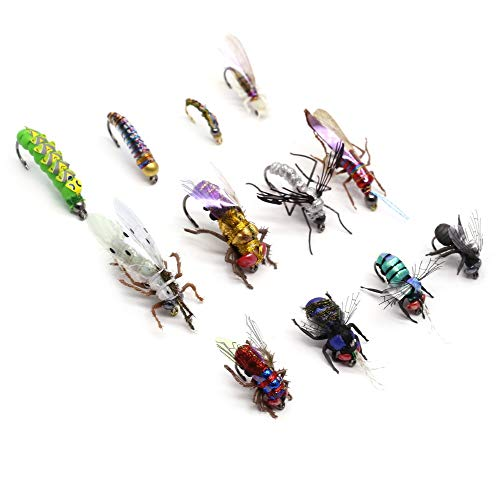 Fly Fishing Flies Realistic Dry Wet Nymph Trout Flies Hand Tie Lures Kits 12/26/48 Pcs (8-Mix kit 12pcs)