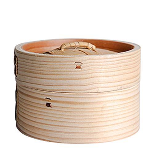 GCP Vaporera de bambú, vaporera de bambú para cocinar al Vapor, Mini Olla de Cocina de bambú al Vapor para el hogar, albóndigas al Vapor, una Jaula + una Tapa
