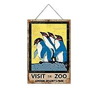 ロンドン動物園リージェンツパークをご覧ください木製のリストプラーク木の看板ぶら下げ木製絵画パーソナライズされた広告ヴィンテージウォールサイン装飾ポスターアートサイン