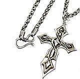 NC122 Colgante de Cruz de Jesús Cristiano para Hombre, Collar de Plata tailandés religioso, Collar de joyería de Moda de Estilo Retro Punk, Colgante Grande + Cadena giratoria