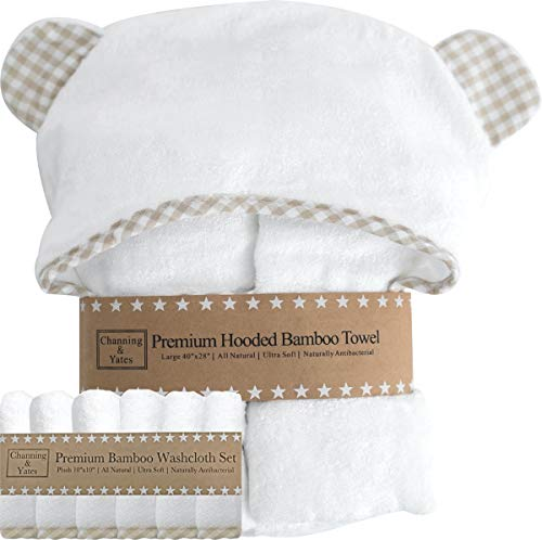 Channing & Yates kapuze babytuch + (6 stück) waschlappen geschenk bundle - baby-tuch und 6 waschlappen set - (unisex beige gingham bundle)