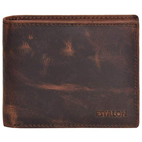 Front Pocket Wallet for Men - RFID Blocking Leather Bifold Wallet with ID Window (Brown Crazy Horse)