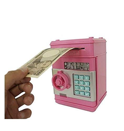 Gwill Hucha creativa mini cajero automático caja de seguridad contraseña electrónica masticar monedas Banco efectivo máquina de depósito regalo de cumpleaños para niños niños Color rosa