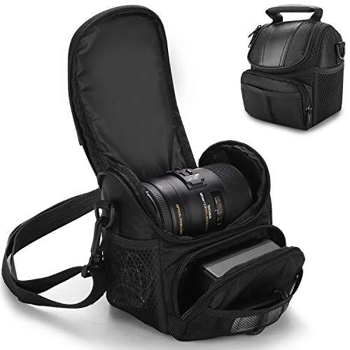Winload Kameratasche Tasche, DSLR Kameratasche Klein, Wasserdicht und Stoßfest für Spiegelreflexkameras, mit Schultergurt und Zubehörfächern, für Canon Nikon Sony Olympus (Schwarz)