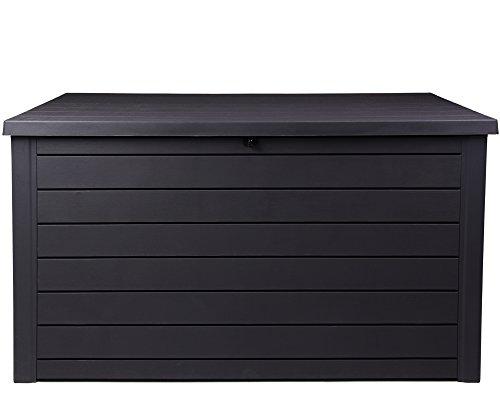 Ondis24 Ontario Kissenbox XXL Auflagenbox Gartenbox anthrazit 870 Liter Truhe Holz Optik mit Gasdruckfedern ca. 146 x 82 x 86 (H) cm