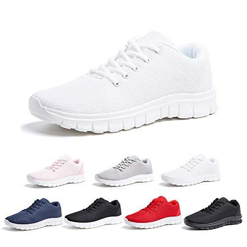Zapatillas Running Hombre Zapatos Deportivos con Cordones Casuales Sneakers Sport Fitness Gym Outdoor Transpirable Comodas Calzado Blanco Talla 42