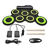 JoaSinc Kit de Batería Electrónica Drum Set Rolling up 7 Almohadillas de Silicona, Portátil Enrollable Eléctrica Musical Drum Kit, Metrónomo Integrado con 2 Pedales para Niños, Principiantes
