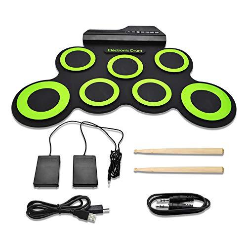 JoaSinc Batteria Elettronica Drum Kit Portatile da Tavolo, Batterie Elettroniche Strumenti Musicali Roll Up 7 Silicio Drum Pads con 2 Pedali per Bambini Principianti